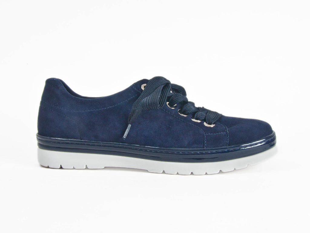 Silver and navy blue suede lace-up trainers