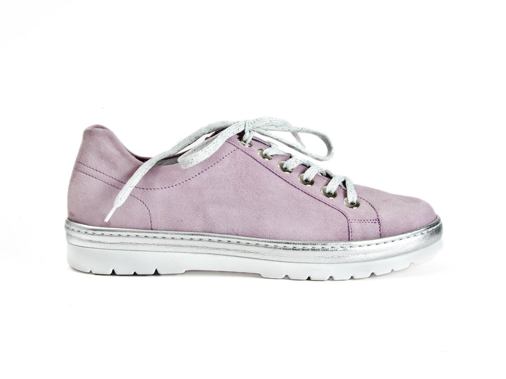 Silver and lilac suede lace-up trainers