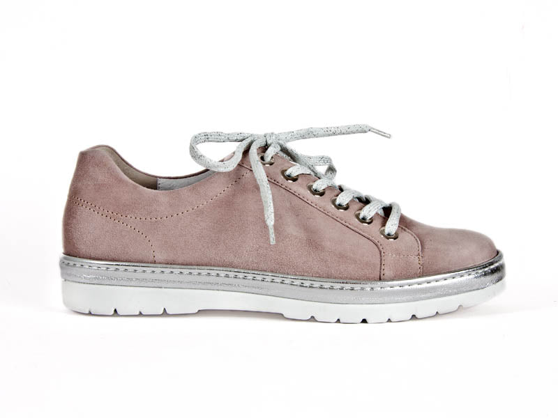 Silver and pale pink suede lace-up trainers