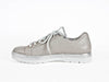 Silver & pearlised leather lace-up trainer