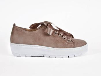 Chunky sole nubuck lace-up trainer