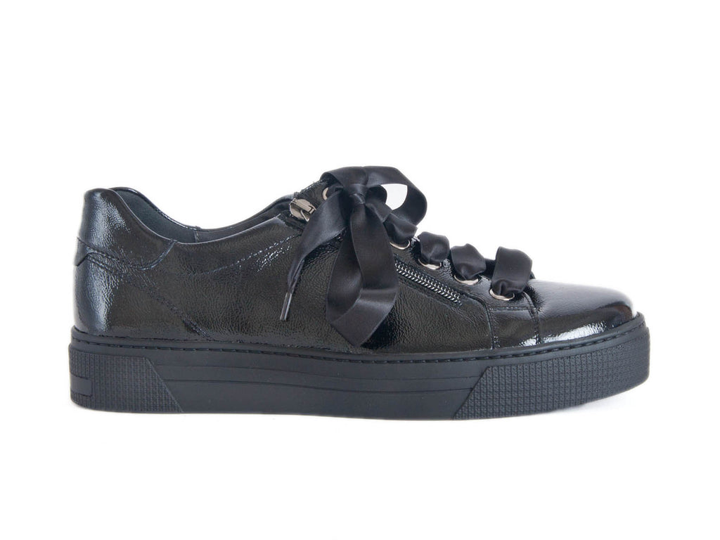 Chunky sole black patent leather trainer shoe