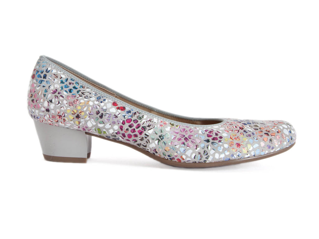 Multi coloured summery flowery ladies leather court shoe with grey mid height heel