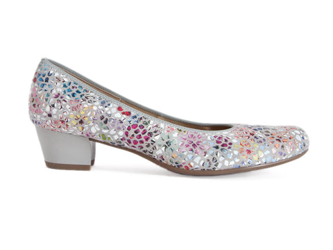 Ara flowery mosaic wide fit leather court