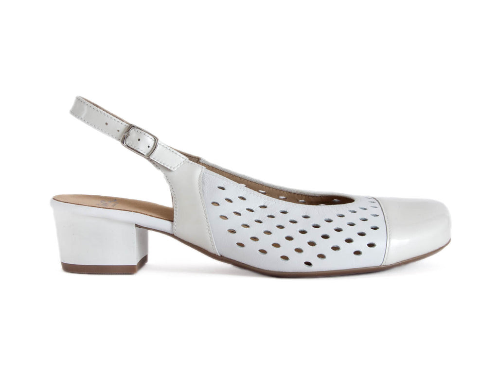 WIDE LEATHER SLINGBACK IN WHITE-WHITE