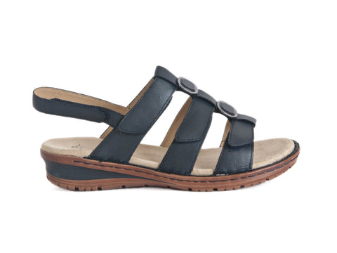 Sandal with 3 straps-NAVY BLUE