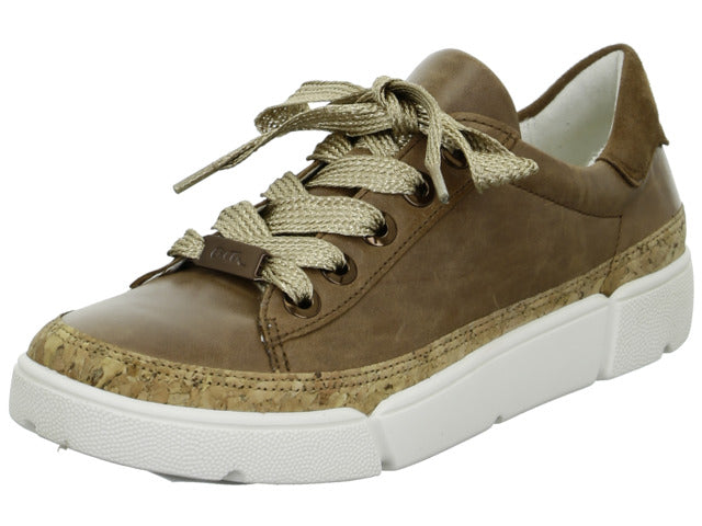 Ara chunky sole Cognac brown leather trainer shoe
