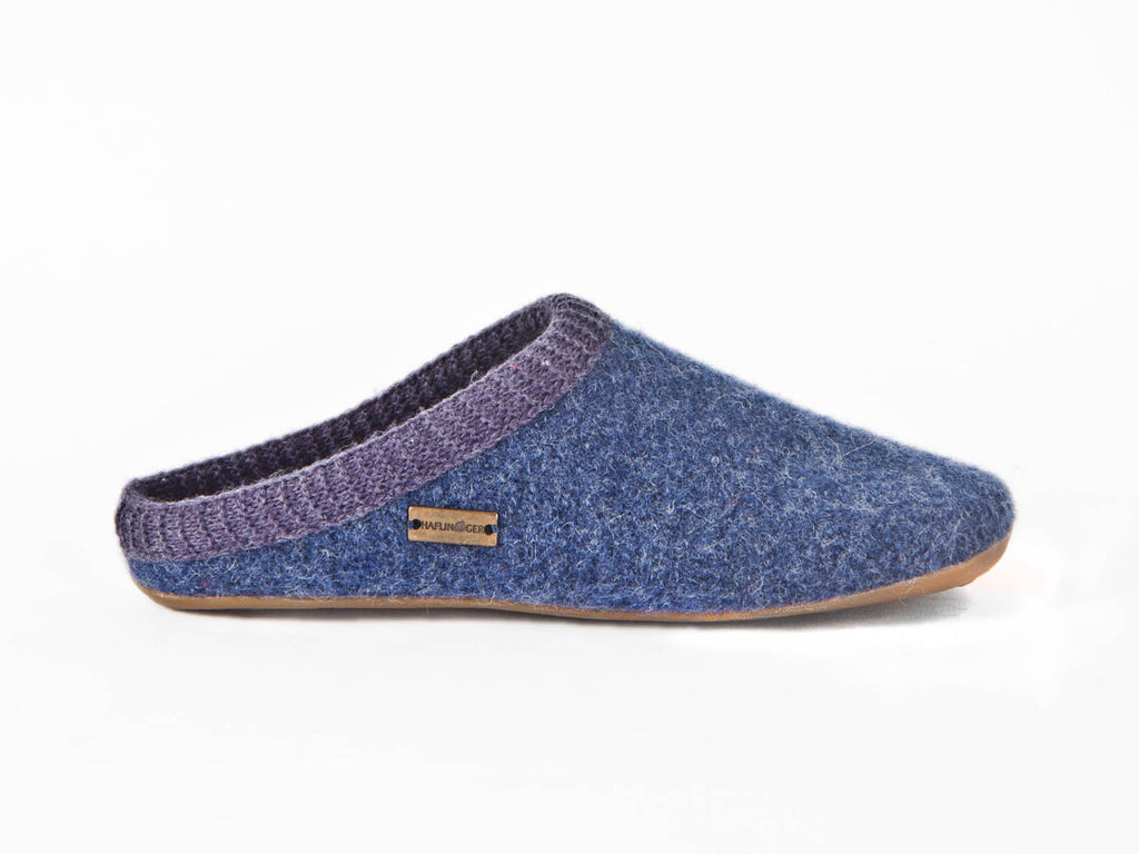 Wool slipper with rubber sole-NAVY BLUE
