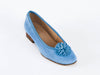 Italian suede pump with petal detail-TURQUOISE