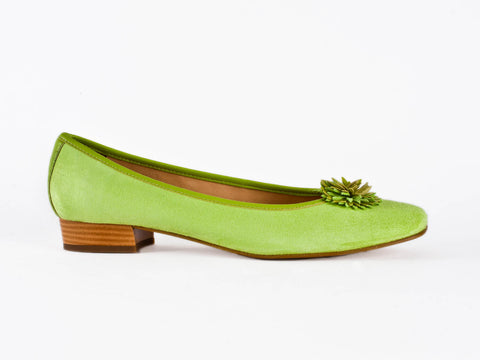 Italian suede pump with petal detail-LIME GREEN
