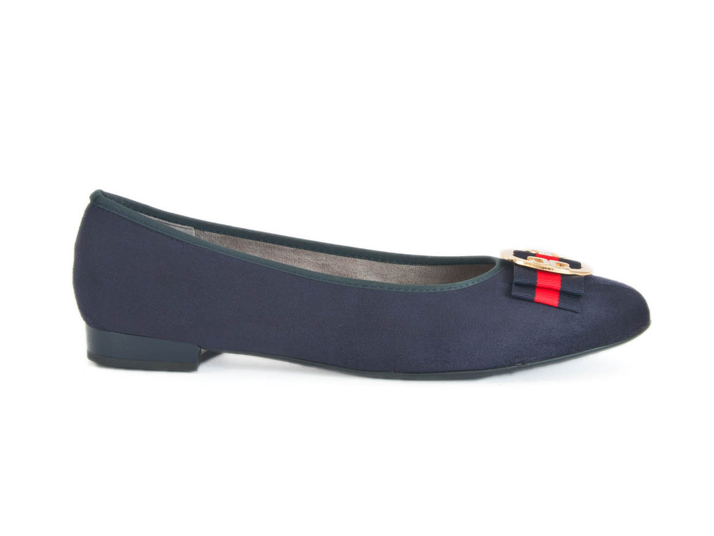 Pump in suede leather with trim-NAVY BLUE