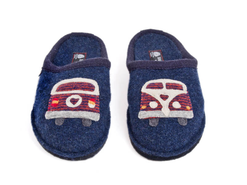 Camper van pure wool slipper - Navy Blue