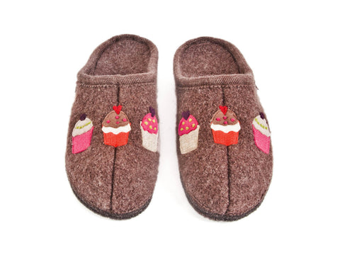 Wool slipper with cupcake design, wool & felt sole-BROWN