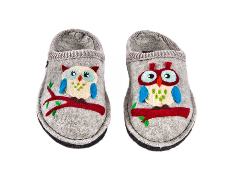 Wool slipper with Mr & Mrs Owl design, rubber & felt sole-GREY