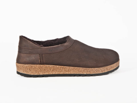 Sheepskin slipper with cork & rubber sole - Brown