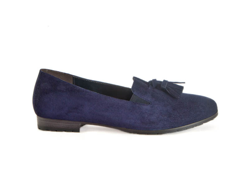 Tassel navy suede loafer