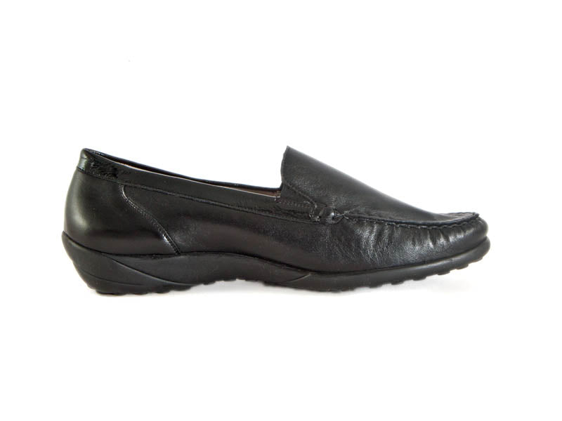 black leather loafers with black sole - Ellie Dickins Shoes