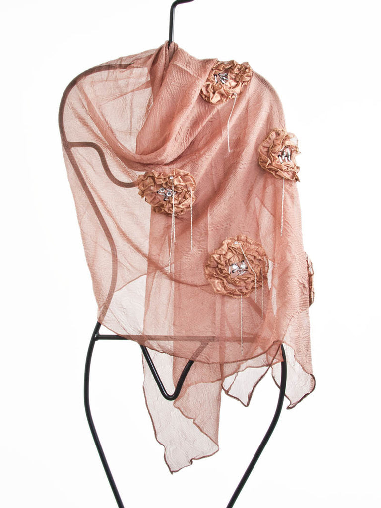 scarf with flowers + beading