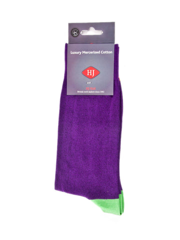 Sock contrast toe & heel - Purple & Green