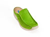 ladies lime green leather slip on mules with contrasting white rubber sole and stitching detail