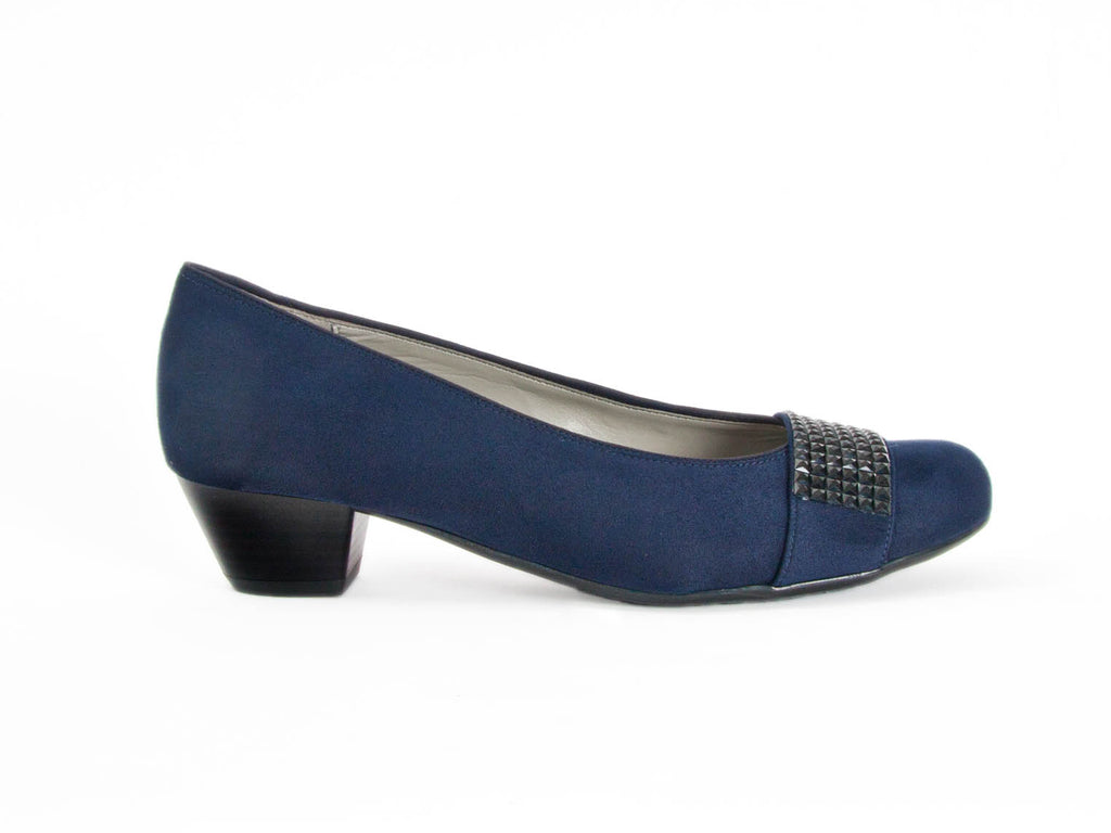 blue suede court shoes with a trim detail across the toe, in wide fitting, sizes small to large 9 - at Ellie Dickins Shoes