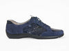 navy blue ladies lace-up shoes with mock-croc side panels - Ellie Dickins Shoes