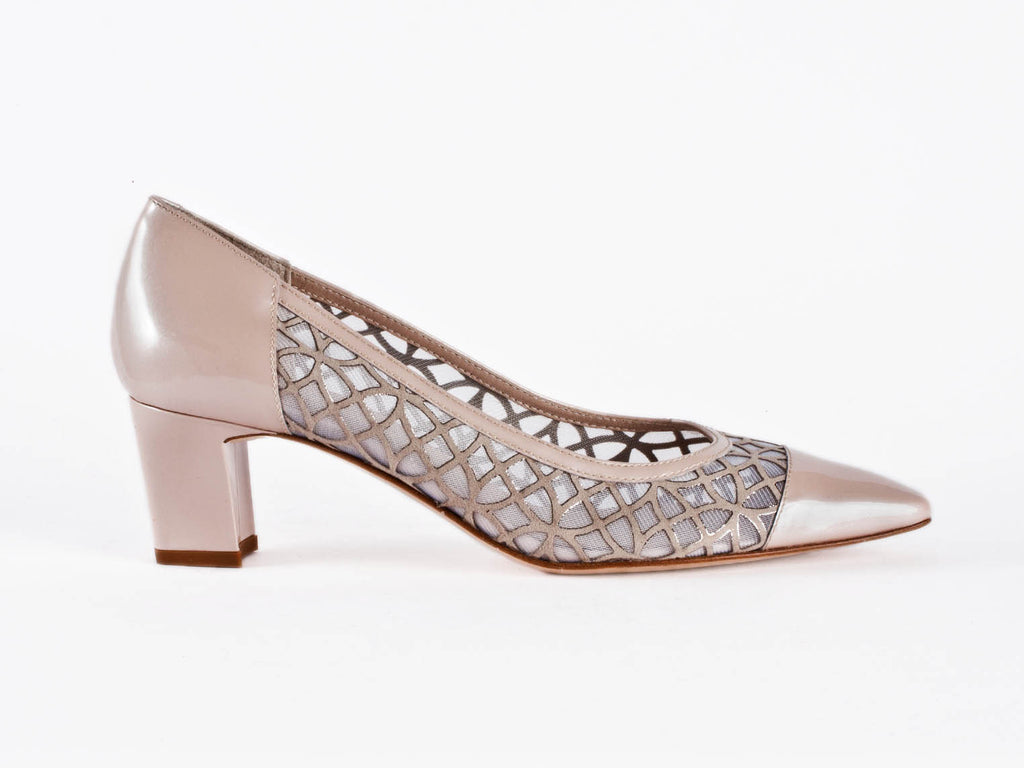 Patent leather and net beige court