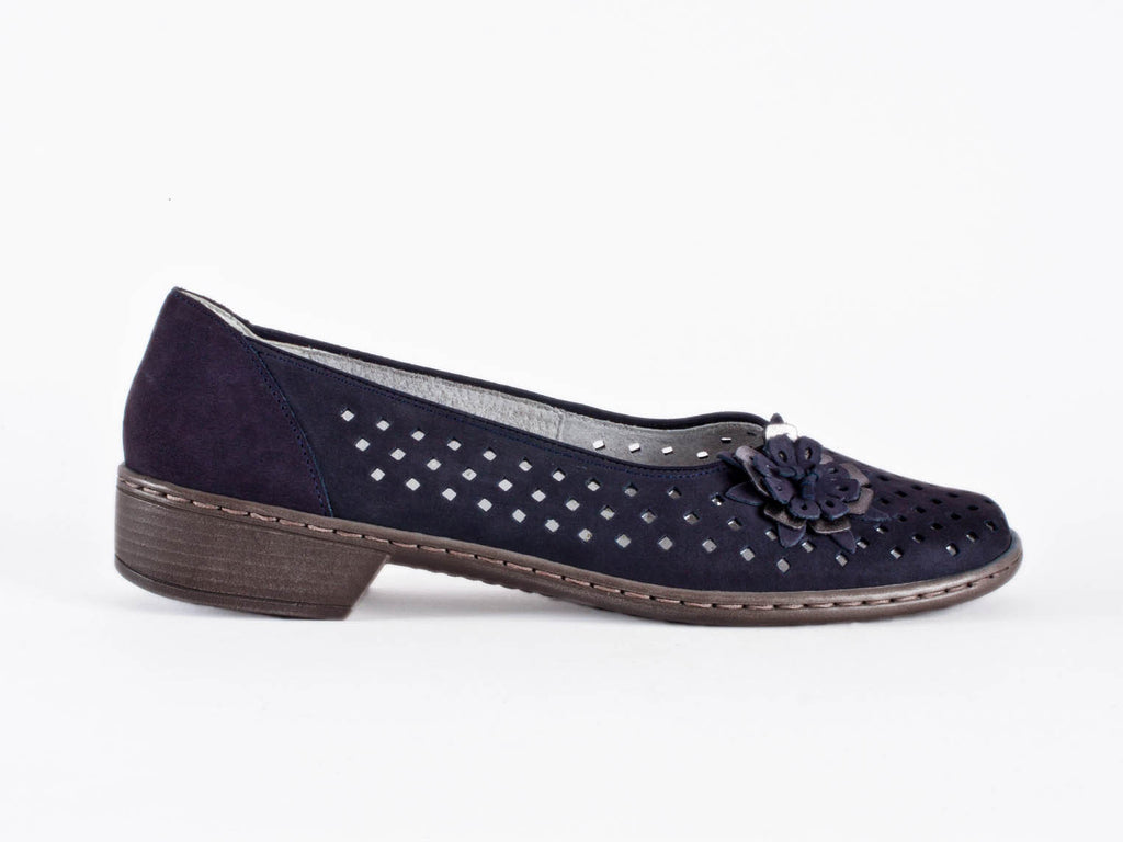 Ara punched navy nubuck wide-fit pump