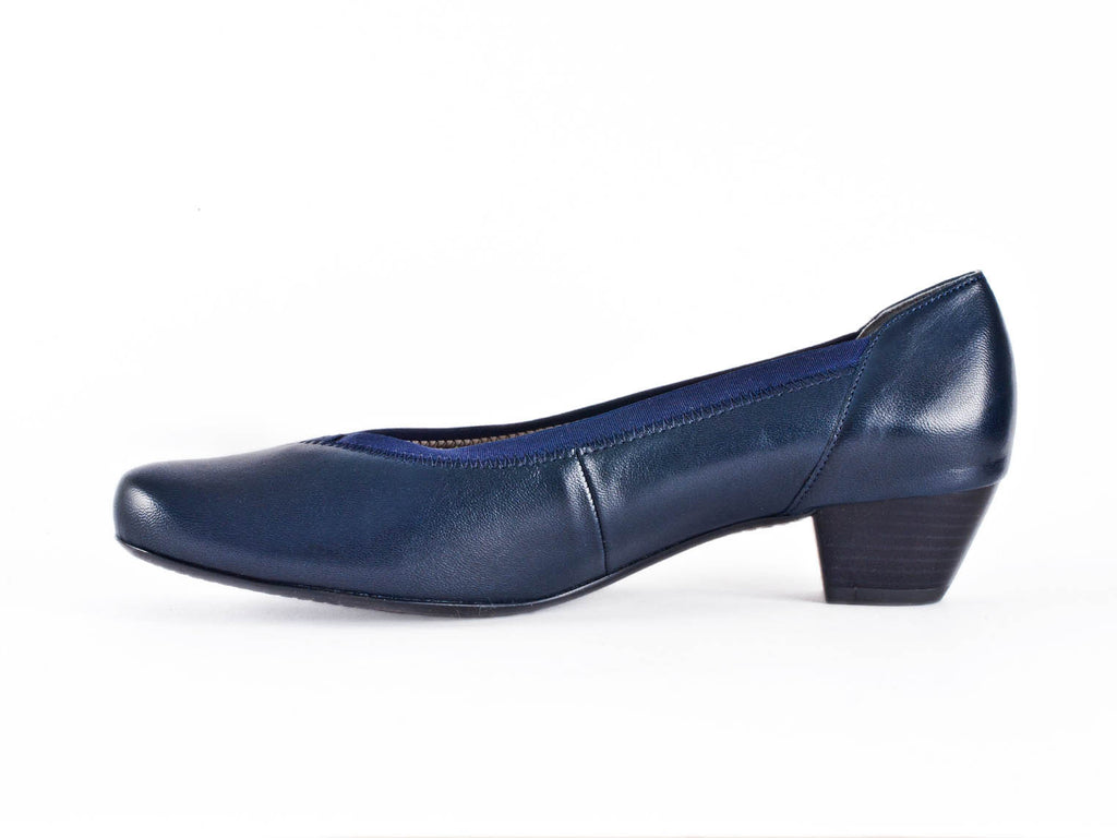 3d2786dea5ad5 Women's navy blue leather slip on court shoes, extra wide with stylish  elastic trim detail