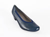 Women's navy blue leather slip on court shoes, extra wide with stylish elastic trim detail - at Ellie Dickins Shoes