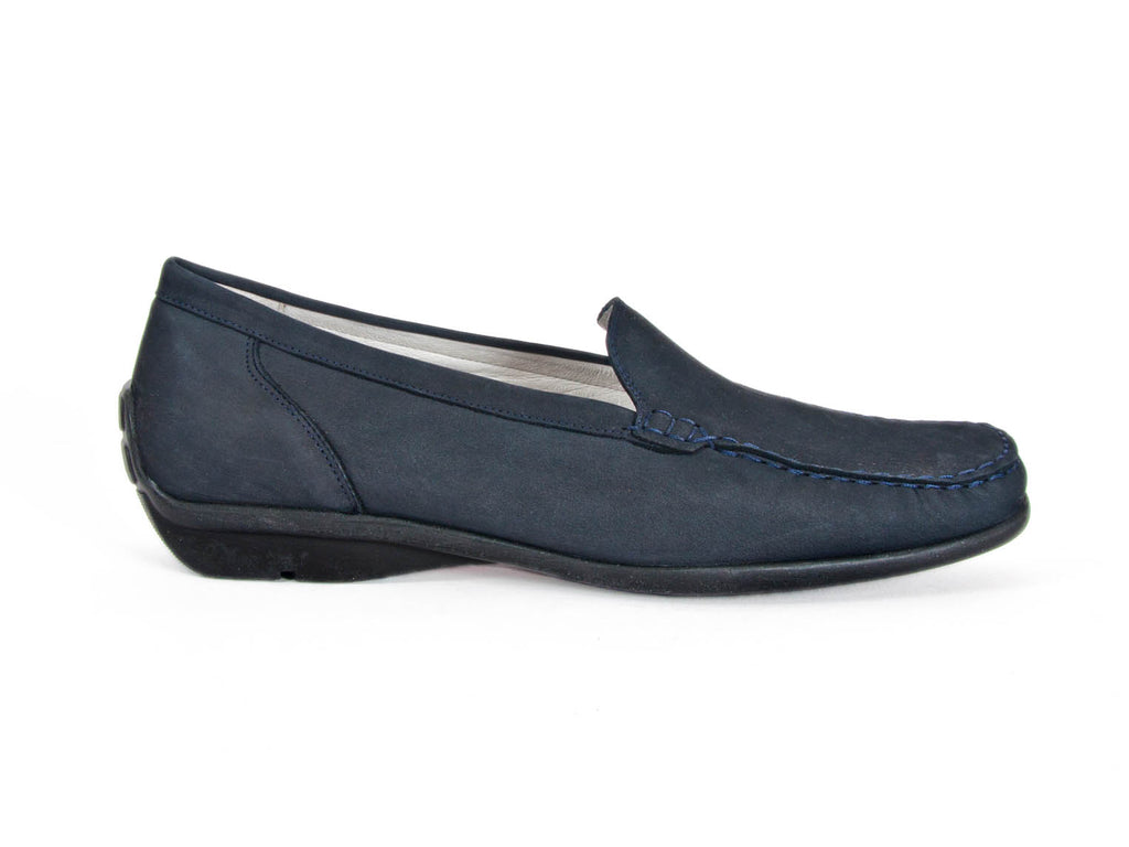 Harriet navy blue nubuck moccasin