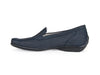 Side view of navy nubuck leather ladies mocassin, with black sole and blue stitching around the toe