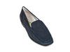 Overhead view of navy nubuck leather ladies mocassin, with black sole and blue stitching around the toe