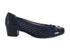 Ara wide fit navy patent leather toe court