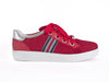 red trainer shoe with wide laces, silver heel detail and thick white sole - side view