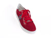 red trainer shoe with wide laces, silver heel detail and thick white sole - top view