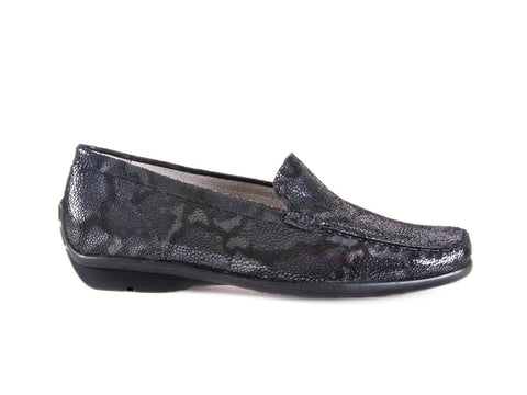 Harriet mock snakeskin grey leather moccasin