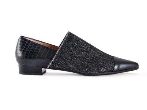 Mock croc and fabric black loafer