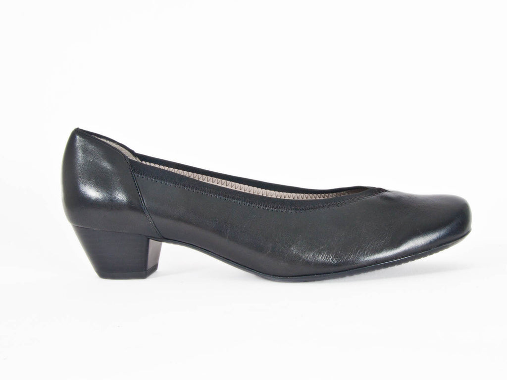 Ara wide fit elastic detail black leather court