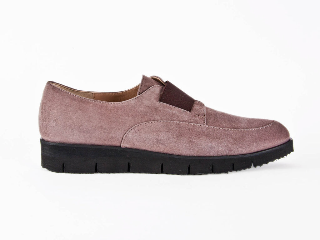 Italian taupe nubuck leather loafers - side view - at Ellie Dickins Shoes