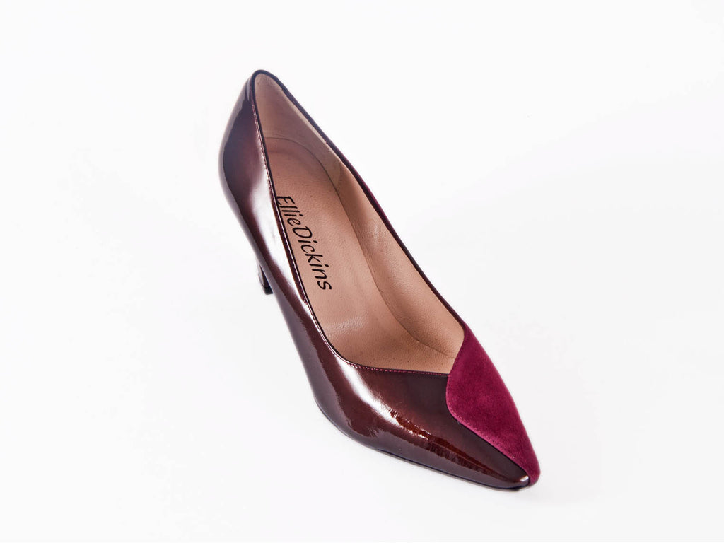Two halves suede & patent leather court