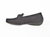 Ladies low heel black nubuck leather moccasin