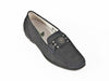 Ladies black leather moccasin with metal detail on the barl trim