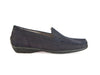 Ladies flat black nubuck leather shoes, with low heel, feature moccasin stitching around the toe - from Ellie Dickins Shoes