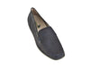Top view of ladies flat black nubuck leather shoes, with low heel, feature moccasin stitching around the toe - from Ellie Dickins Shoes