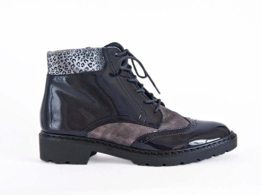 Brogue style ankle boot in black patent with bronze nubuck leather - super stylish