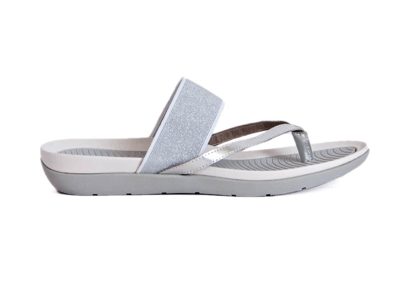 Silver sandals with toe post and wide bar across top of foot, moulded footbed in light and dark silver soft sole.