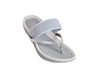 Top view of Silver sandals with toe post and wide bar across top of foot, moulded footbed in light and dark silver soft sole.