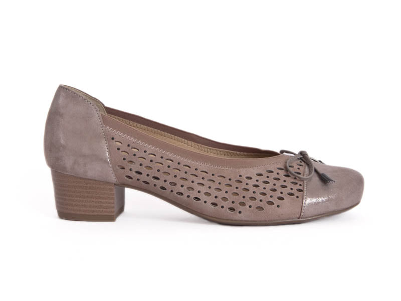 Ladies court shoe with punched suede sides and top, with a contrasting texture patent leather heel and toe, in go-with-everything taupe