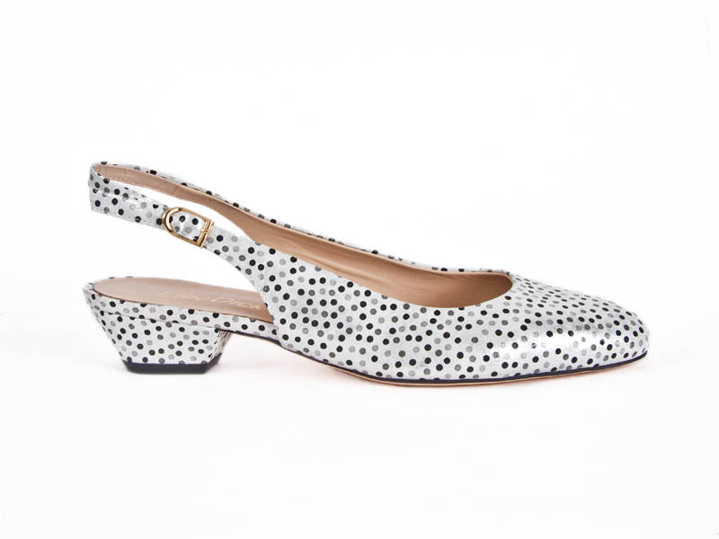 Dotty leather slingback